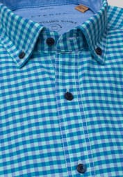 ETERNA HALF SLEEVE SHIRT SLIM FIT UPCYCLING SHIRT OXFORD TURQUOISE / BLUE CHECKED