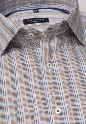 ETERNA LONG SLEEVE SHIRT COMFORT FIT LOTUS SHIRT TWILL BROWN/BLUE CHECKED