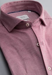 ETERNA LONG SLEEVE SHIRT SLIM FIT SOFT TAILORING JERSEY RED STRUCTURED