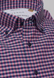 ETERNA LONG SLEEVE SHIRT REGULAR FIT UPCYCLING SHIRT OXFORD RED/BLUE CHECKED