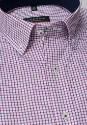 ETERNA HALF SLEEVE SHIRT MODERN FIT PINPOINT RED CHECKED
