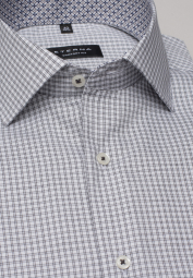 ETERNA HALF SLEEVE SHIRT COMFORT FIT PINPOINT GREY CHECKED