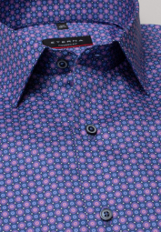 ETERNA LONG SLEEVE SHIRT MODERN FIT TWILL PINK / BLUE PRINTED