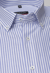 ETERNA HALF SLEEVE SHIRT MODERN FIT OXFORD LIGHT BLUE/WHITE STRIPED