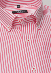 ETERNA LONG SLEEVE SHIRT MODERN FIT OXFORD RED/WHITE STRIPED