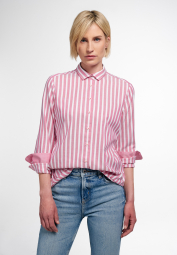 ETERNA LONG SLEEVE BLOUSE MODERN CLASSIC UPCYCLING SHIRT OXFORD RED STRIPED