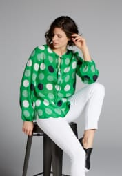 LONG SLEEVE BLOUSE 1863 BY ETERNA - PREMIUM GREEN PRINTED
