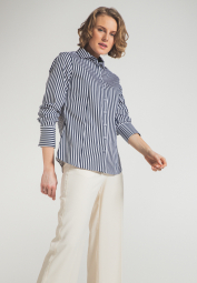 ETERNA LONG SLEEVE BLOUSE MODERN CLASSIC STRETCH NAVY / WHITE STRIPED