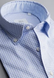 ETERNA LONG SLEEVE SHIRT COMFORT FIT SOFT TAILORING TWILL LIGHT BLUE CHECKED