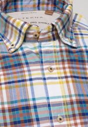 ETERNA HALF SLEEVE SHIRT REGULAR FIT UPCYCLING SHIRT OXFORD TURQUOISE / BLUE CHECKED