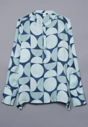 LONG SLEEVE BLOUSE 1863 BY ETERNA - PREMIUM BLUE / TURQUOISE PRINTED
