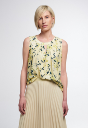 ETERNA WITHOUT SLEEVES BLOUSE MODERN CLASSIC YELLOW PRINTED