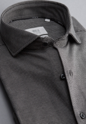 ETERNA LONG SLEEVE SHIRT SLIM FIT SOFT TAILORING JERSEY GREY/BLACK STRUCTURED