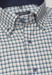ETERNA LONG SLEEVE SHIRT COMFORT FIT TWILL GREEN/YELLOW CHECKED