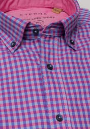 ETERNA LONG SLEEVE SHIRT SLIM FIT UPCYCLING SHIRT OXFORD PINK/BLUE CHECKED