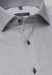 ETERNA LONG SLEEVE SHIRT COMFORT FIT NATTÉ ANTHRACITE / WHITE STRUCTURED