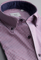 ETERNA LONG SLEEVE SHIRT COMFORT FIT SOFT TAILORING TWILL RED CHECKED