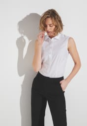 ETERNA WITHOUT SLEEVES BLOUSE MODERN CLASSIC POPLIN WHITE UNI