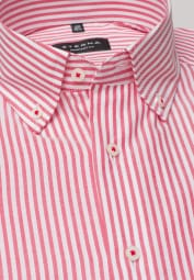 ETERNA LONG SLEEVE SHIRT COMFORT FIT OXFORD RED/WHITE STRIPED