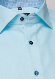 ETERNA HALF SLEEVE SHIRT COMFORT FIT TURQUOISE STRUCTURED
