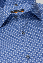 ETERNA LONG SLEEVE SHIRT SLIM FIT TWILL BLUE PRINTED
