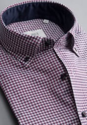 ETERNA LONG SLEEVE SHIRT MODERN FIT SOFT TAILORING TWILL RED CHECKED