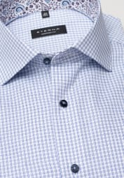 ETERNA HALF SLEEVE SHIRT COMFORT FIT PINPOINT BLUE CHECKED