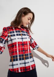 ETERNA LONG SLEEVE BLOUSE MODERN CLASSIC RED / BLUE / WHITE CHECKED