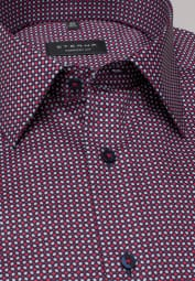 ETERNA LONG SLEEVE SHIRT COMFORT FIT TWILL RED / NAVY PRINTED