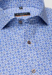 ETERNA LONG SLEEVE SHIRT SLIM FIT OXFORD BLUE/WHITE PRINTED