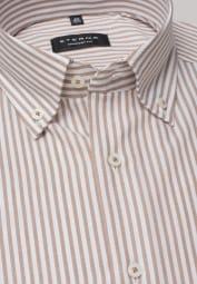 ETERNA LONG SLEEVE SHIRT COMFORT FIT OXFORD BEIGE / WHITE STRIPED
