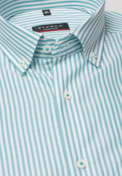 ETERNA LONG SLEEVE SHIRT MODERN FIT OXFORD TURQUOISE / WHITE STRIPED