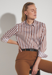 ETERNA LONG SLEEVE BLOUSE MODERN CLASSIC BROWN/WHITE STRIPED