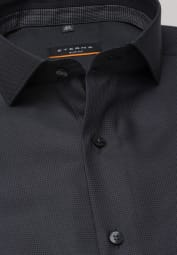 ETERNA LONG SLEEVE SHIRT SLIM FIT TWILL ANTHRACITE STRUCTURED