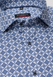 ETERNA LONG SLEEVE SHIRT MODERN FIT TWILL NAVY / LIGHT BLUE PRINTED