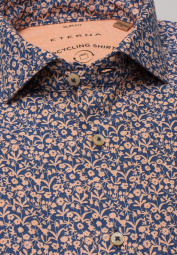 ETERNA LONG SLEEVE SHIRT SLIM FIT UPCYCLING SHIRT OXFORD APRICOT / BLUE PRINTED